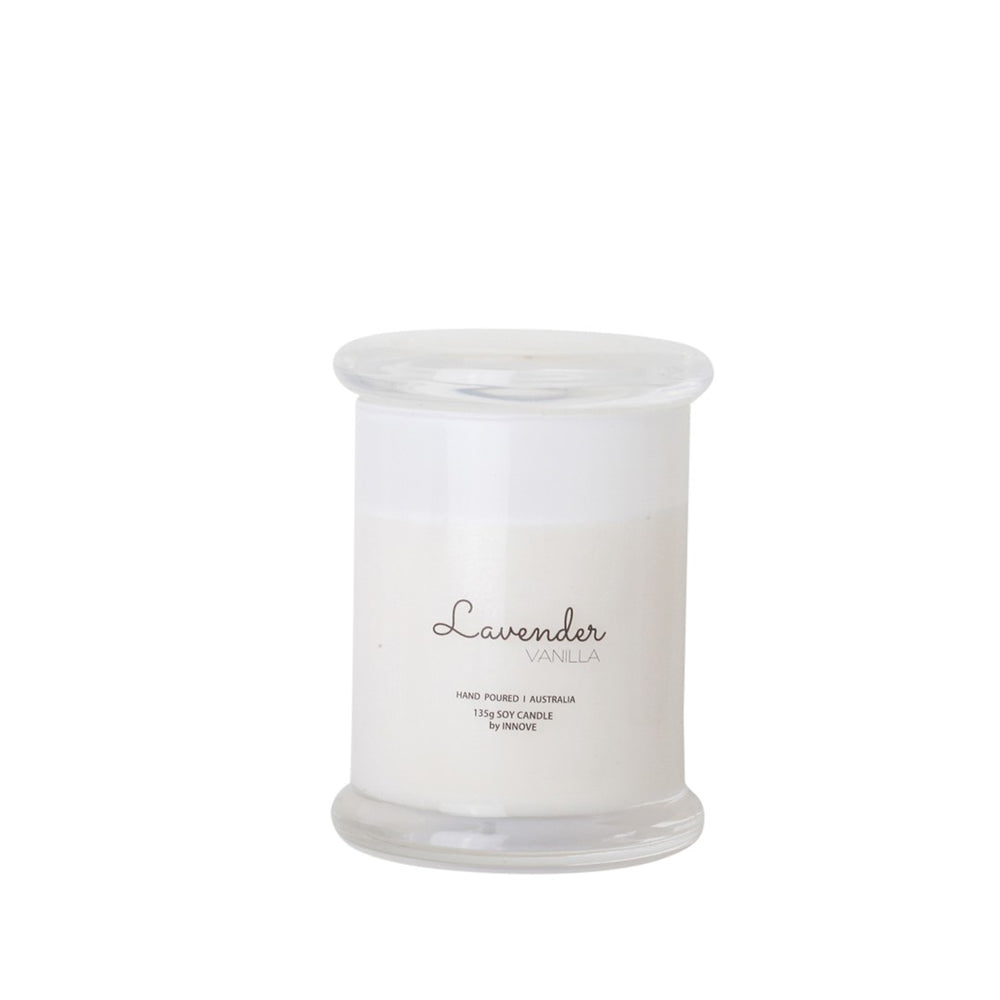 White Glass Soy Candle - Lavender Vanilla