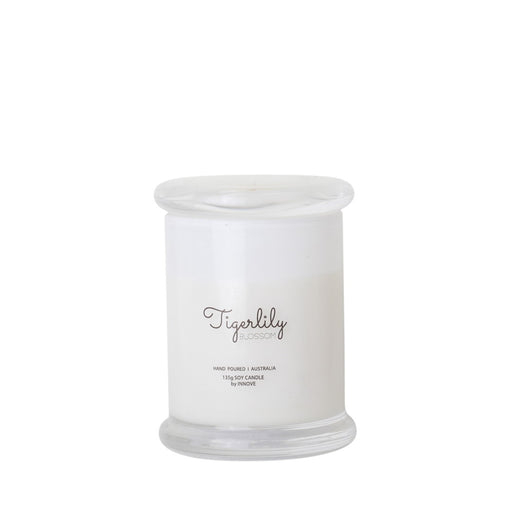 White Glass Soy Candle - Tigerlily Blossom