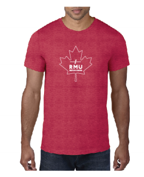 T-Shirt Heather Red Maple Leaf Logo