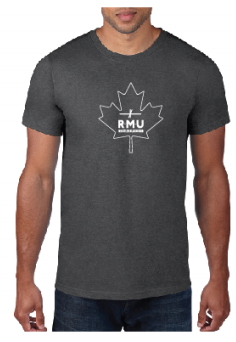 T-Shirt Heather Dark Grey Maple Leaf Logo