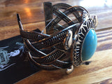 ROUTE 66 STAINLESS SILVER TURQUOISE GEMSTONE  BRACELET