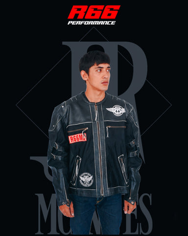 R66 0495 Route 66 Black Leather Airflow Jacket Size XXL