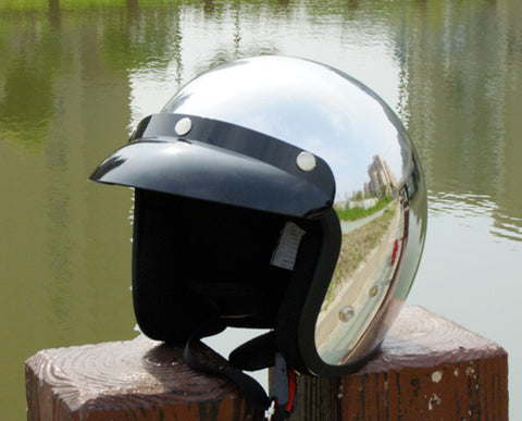 SKU R66 1216 R66 Mirror Silver Chrome Open Face Motorcycle Helmet
