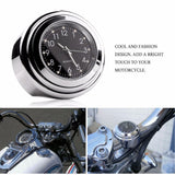 "R66 1310 R66 Waterproof 7/8"" 1"" Chrome Motorcycle Handlebar Mount Quartz Clock Watch"