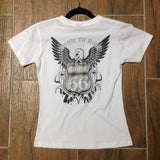 SKU R66 0203 Route 66 Born to Ride T-Shirt White  Small