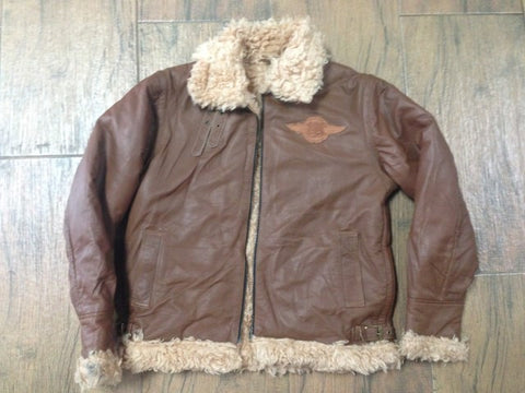 R66 0489 Route66 Brown Leather Bomber Jacket Size S