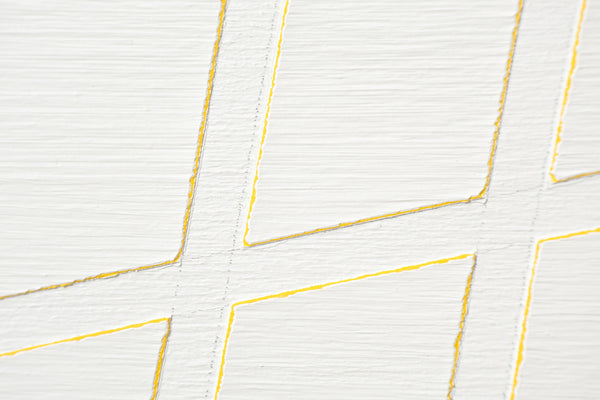 Painting 22, White on Yellow. Acrylic on Aluminium