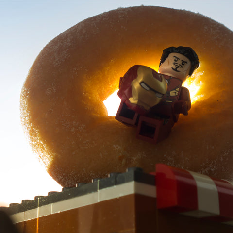 Sir, I'm going to have to ask you to exit the donut! Lego photography by Tom Milton