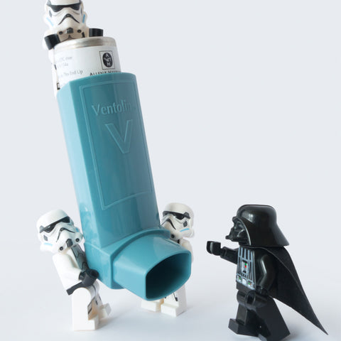 Even dark lords of the Sith can have asthma. Lego Photography