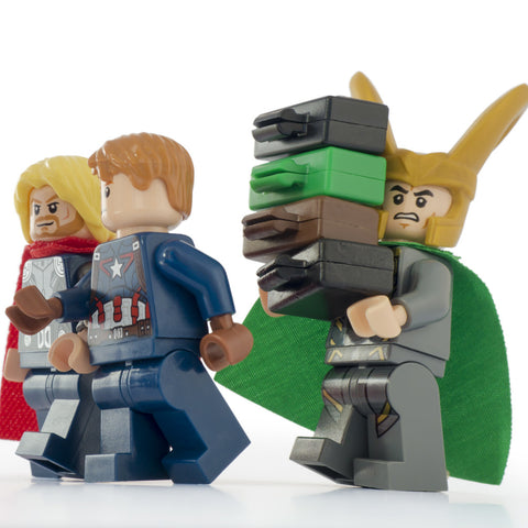 I am Loki, of Asgard, and I am burdened with... everyone's luggage. Lego Photography by Tom Milton