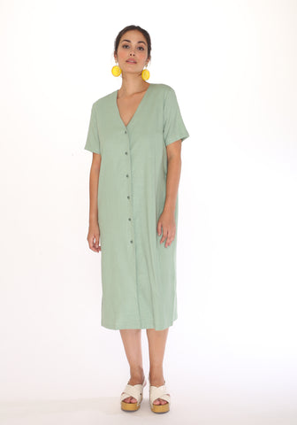 Robe Linen Green Pepaloves