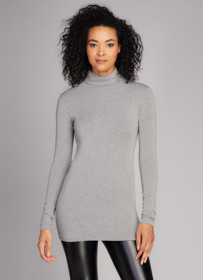 Bamboo L/S Turtle Neck Heather Silver C'est Moi