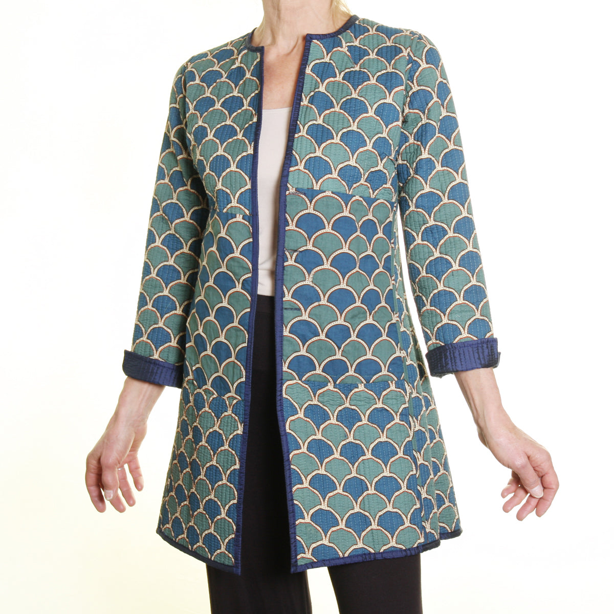 Annik Silk Pleat Reversible Jacket - Navy