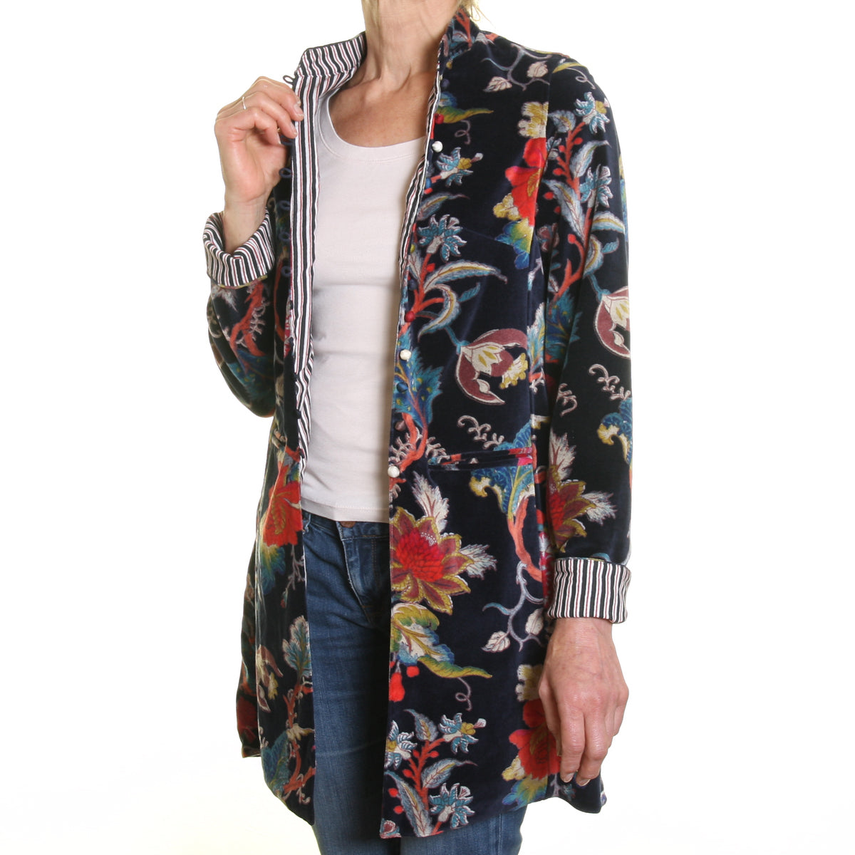Sharwani Cotton Velvet Jacket Navy Flower Print
