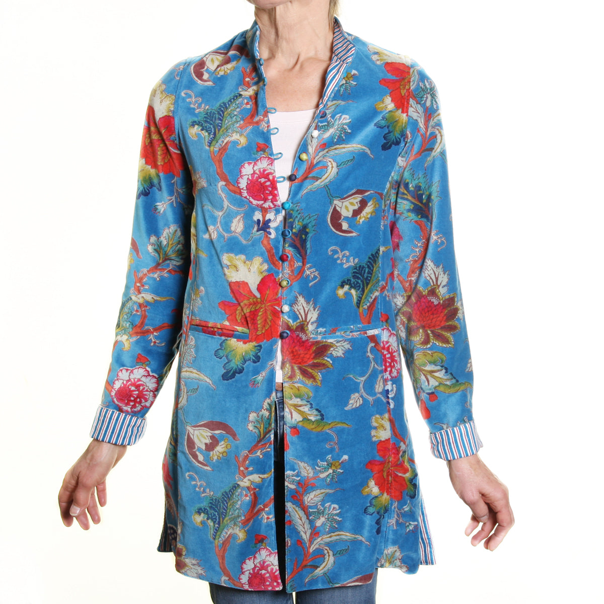 Sharwani Cotton Velvet Jacket Turquoise Flower Print