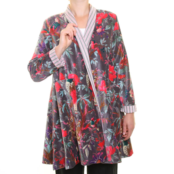 Nika Grey Bird Print Velvet Jacket