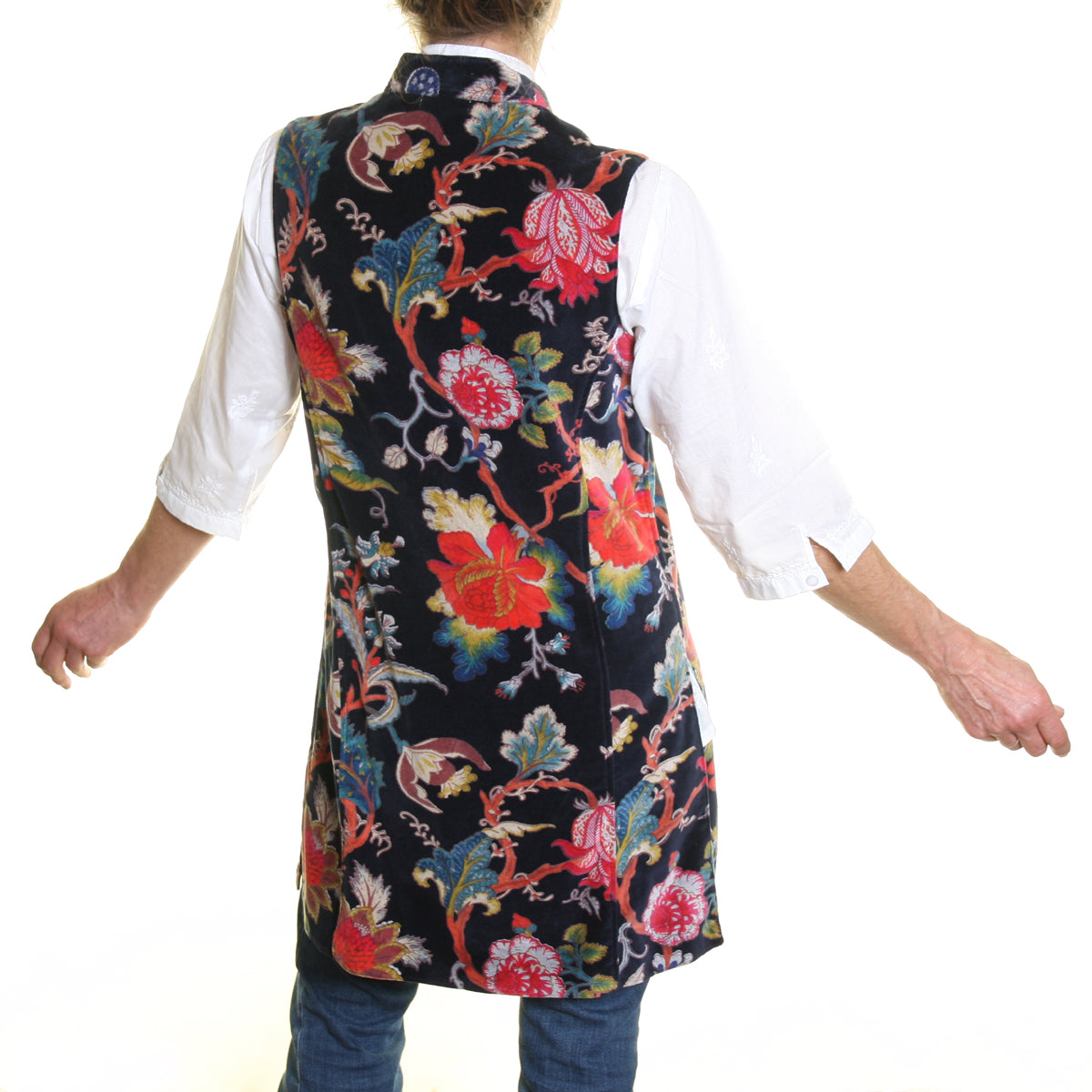 Sleeveless Sharwani Cotton Velvet Jacket in Navy Flower Print
