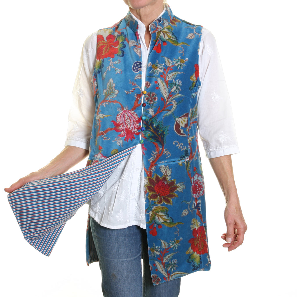 Sleeveless Sharwani Cotton Velvet Jacket Turquoise Flower Print
