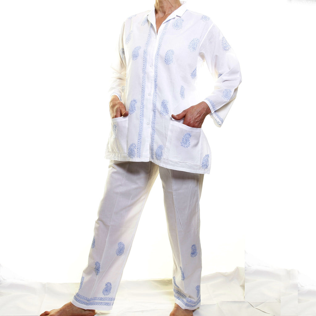 Cotton Pyjamas - Blue Embroidery