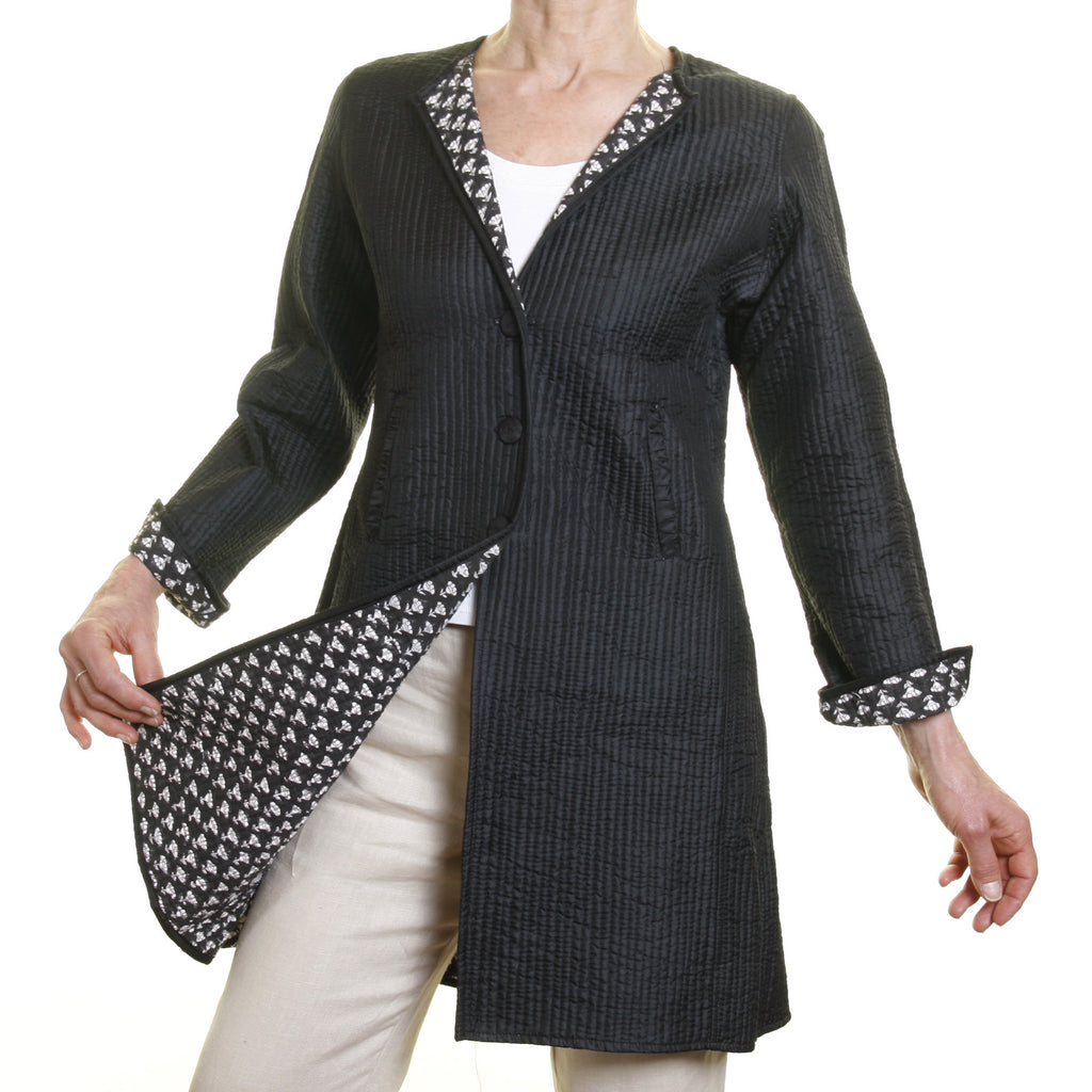 Annik Silk Pleat Jacket - Reversible Black and White