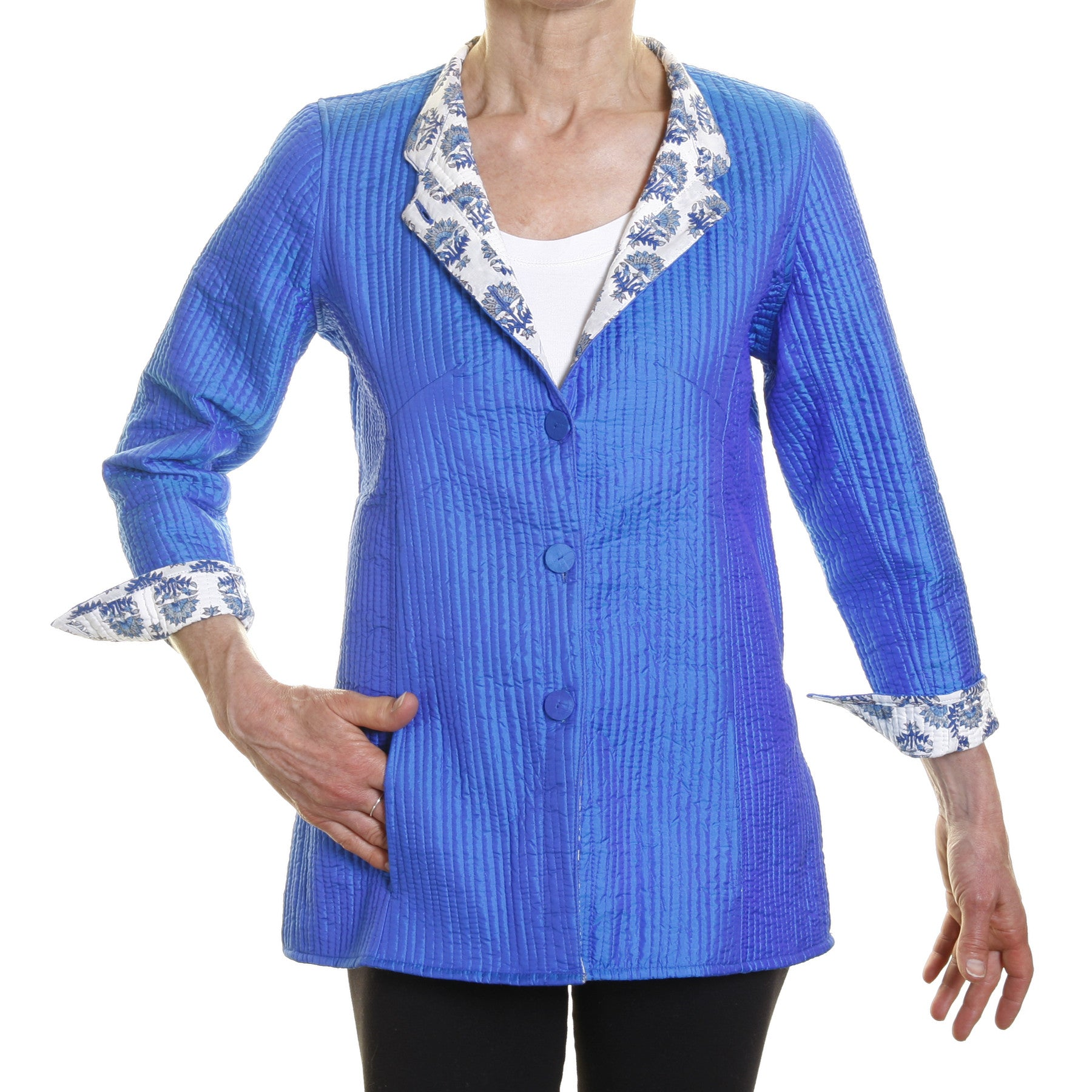 Silk Opera Blazer - Reversible Peacock Blue with Blue and White Print Lining