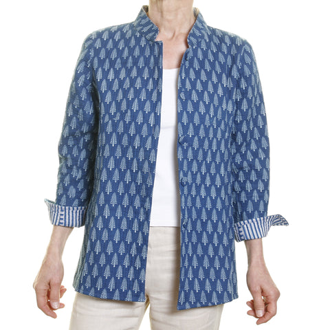 Cotton Opera Blazer - Reversible Blue with Print Lining