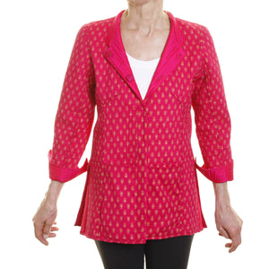 Silk Opera Blazer - Reversible Pink with Print Lining