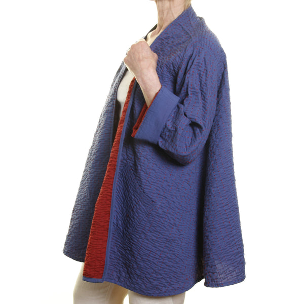 Swing Jacket - Blue with red lining and hand stitching