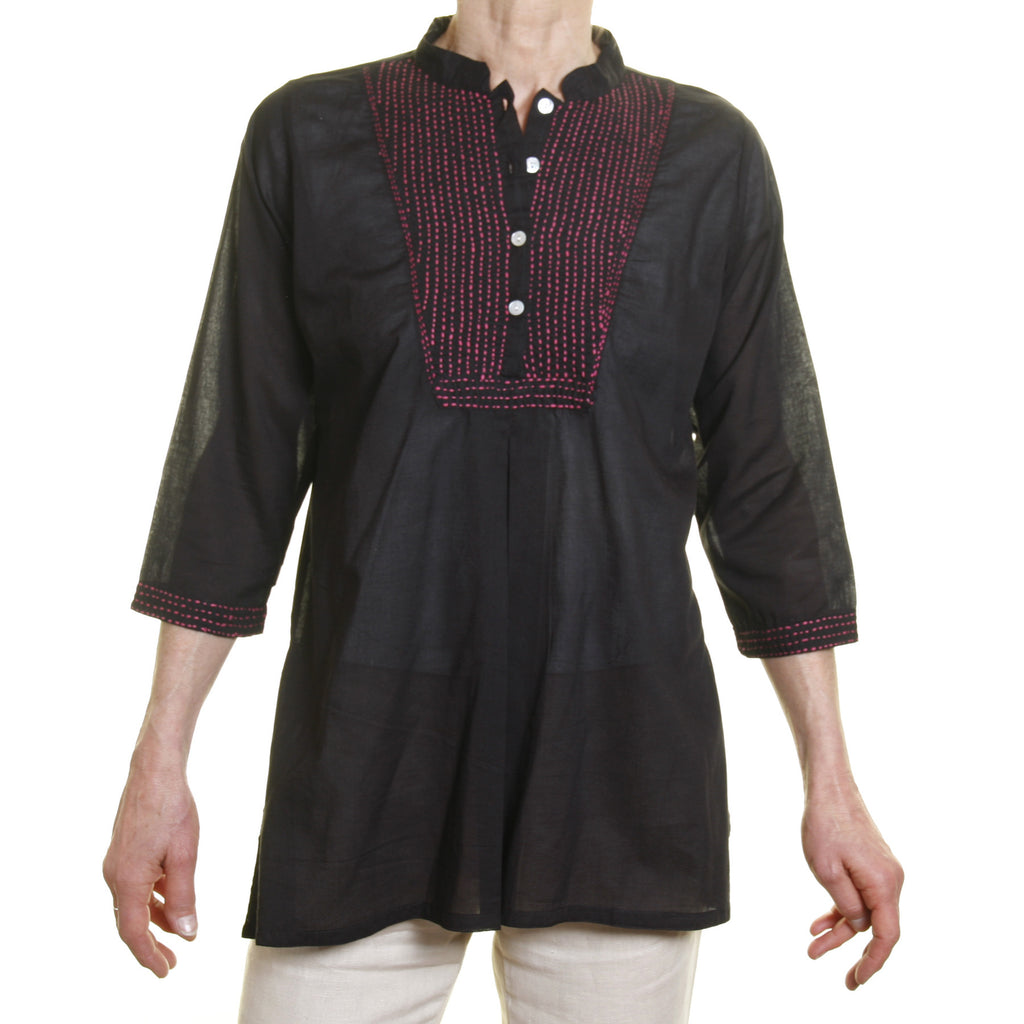 Afghan shirt - Black with pink stitching
