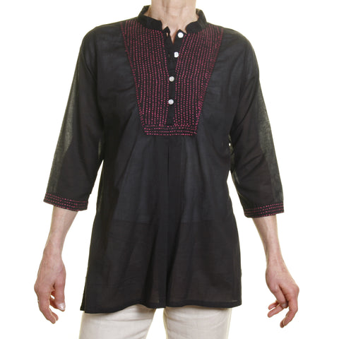 Afghan Shirt - Black with Pink Embroidery