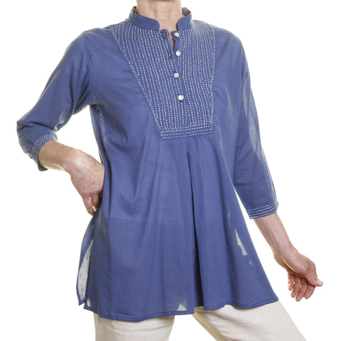 Afghan Shirt - Blue with White Embroidery