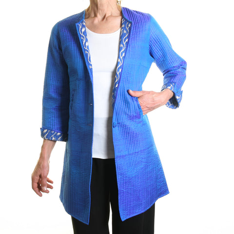 Annik Silk Pleat Jacket - Reversible Peacock Blue