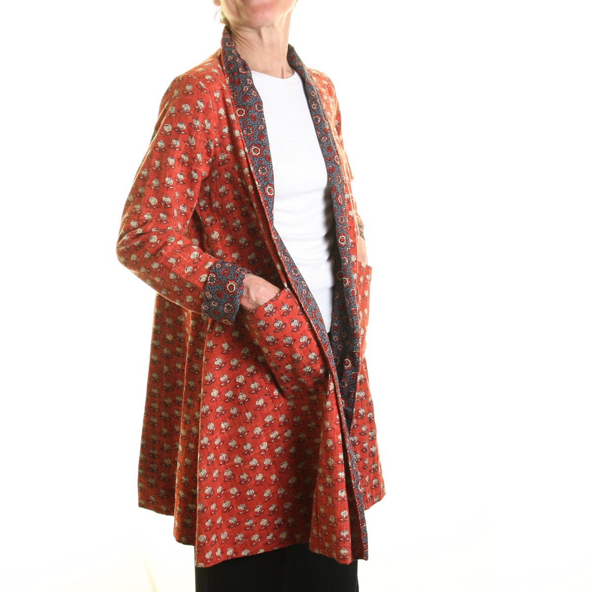 Nika Small Print Slub Jacket Burnt Orange with Paisley Lining