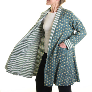 Nika Small Print Slub Jacket Teal with Striped Lining