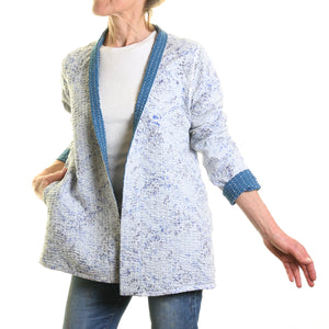 Samode Hand Stitched Reversible Jacket in Blue/Floral Print