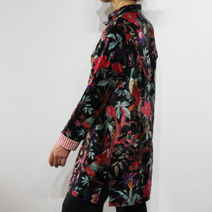Sharwani Cotton Velvet Jacket Black Bird Print