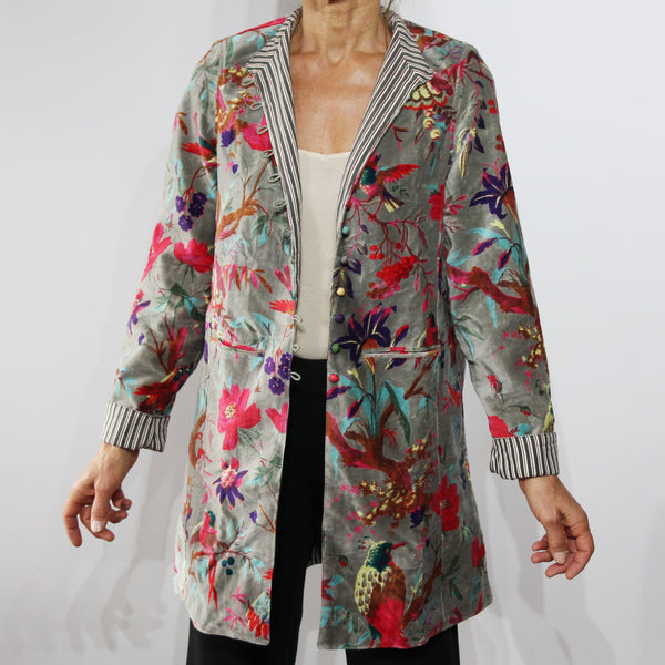 Sharwani Cotton Velvet Jacket Grey Bird Print