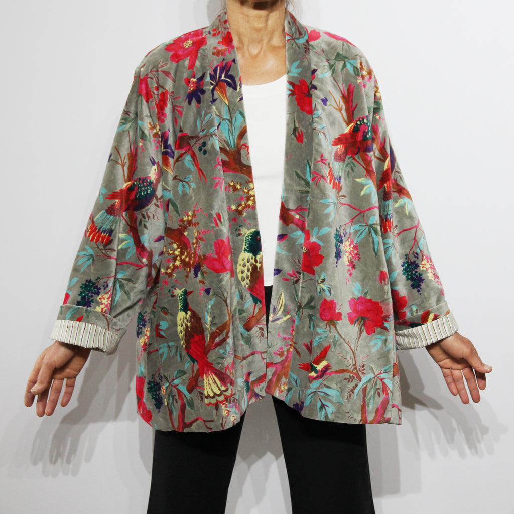Patna Cotton Velvet Jacket Bird Print Grey