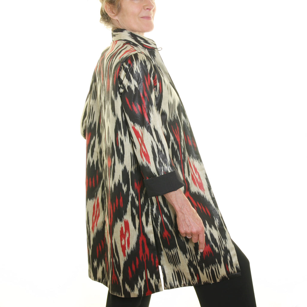 Ikat Jacket Silk and Cotton Jacket - Black, White and Red