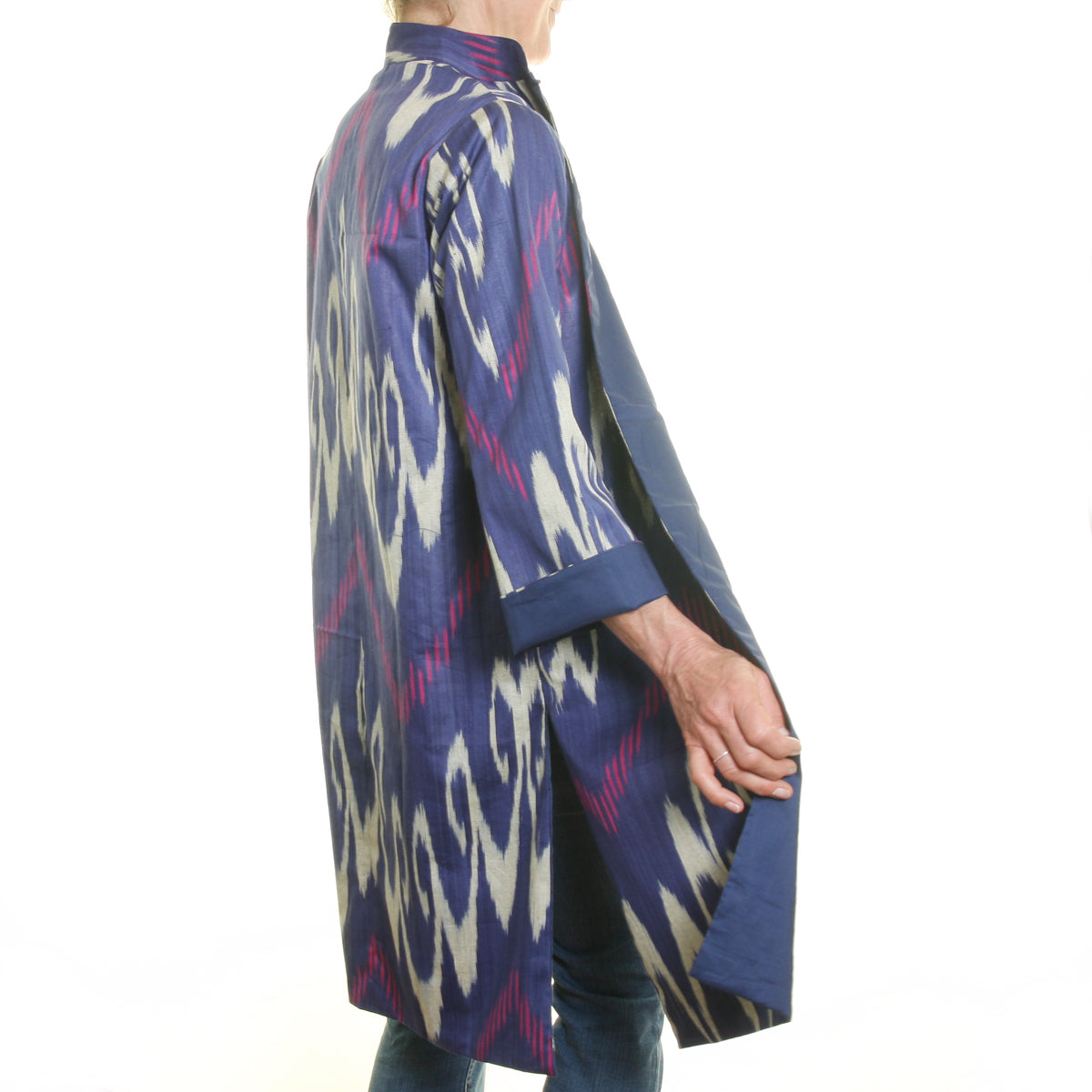 Ikat Silk and Cotton Jacket - Navy, Pink and Cream