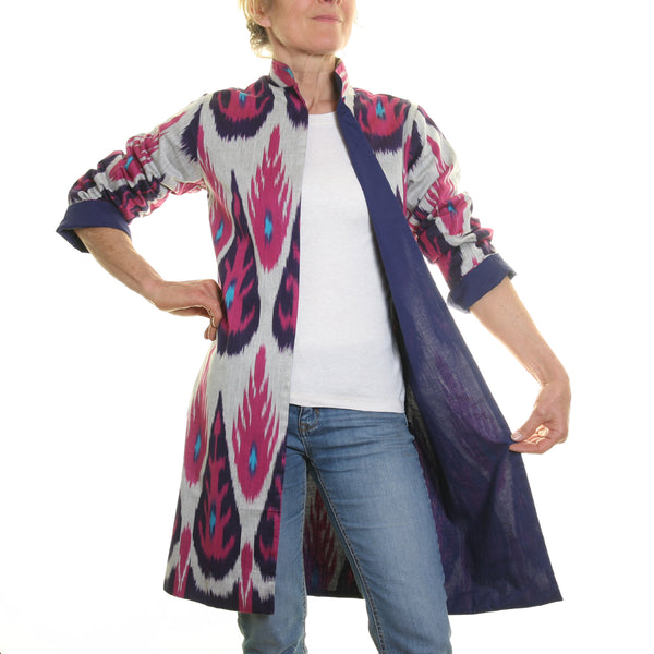 Ikat Silk and Cotton Jacket - Pink, Turquoise and Grey