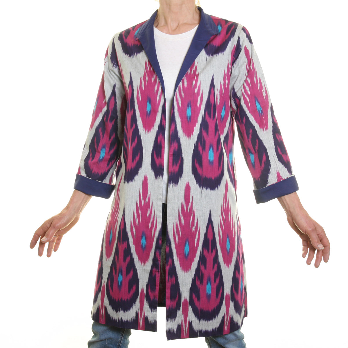 Ikat Silk and Cotton Jacket - Pink, Turquoise and Purple.