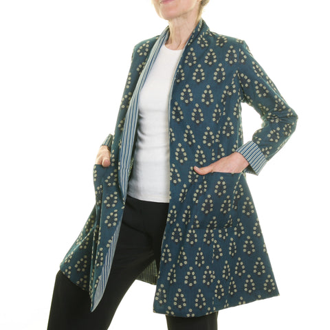 Nika Print Slub Jacket Blue with Teal Striped Lining