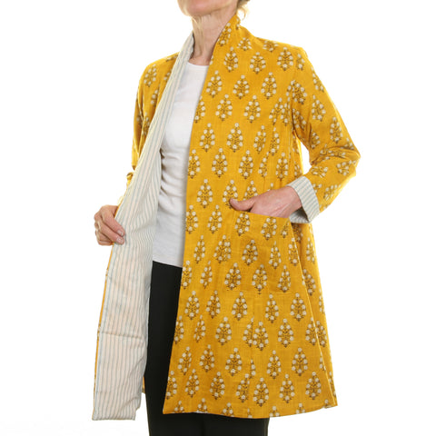 Nika Print Slub Jacket Mustard with Striped Lining