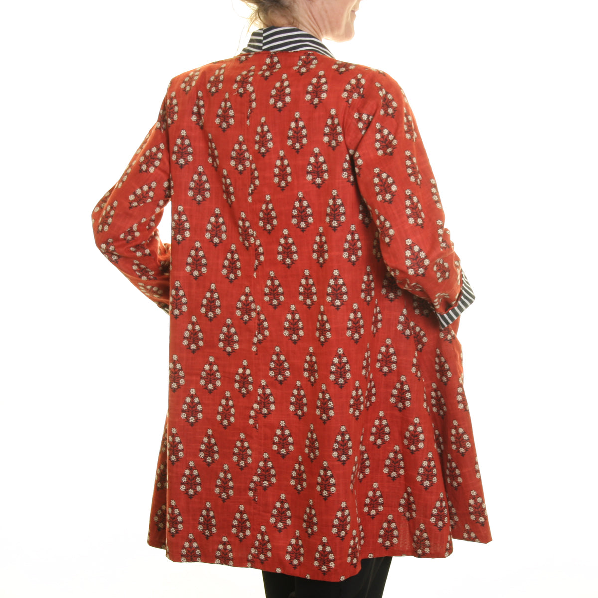 Nika Print Slub Jacket Burnt Orange with Striped Lining