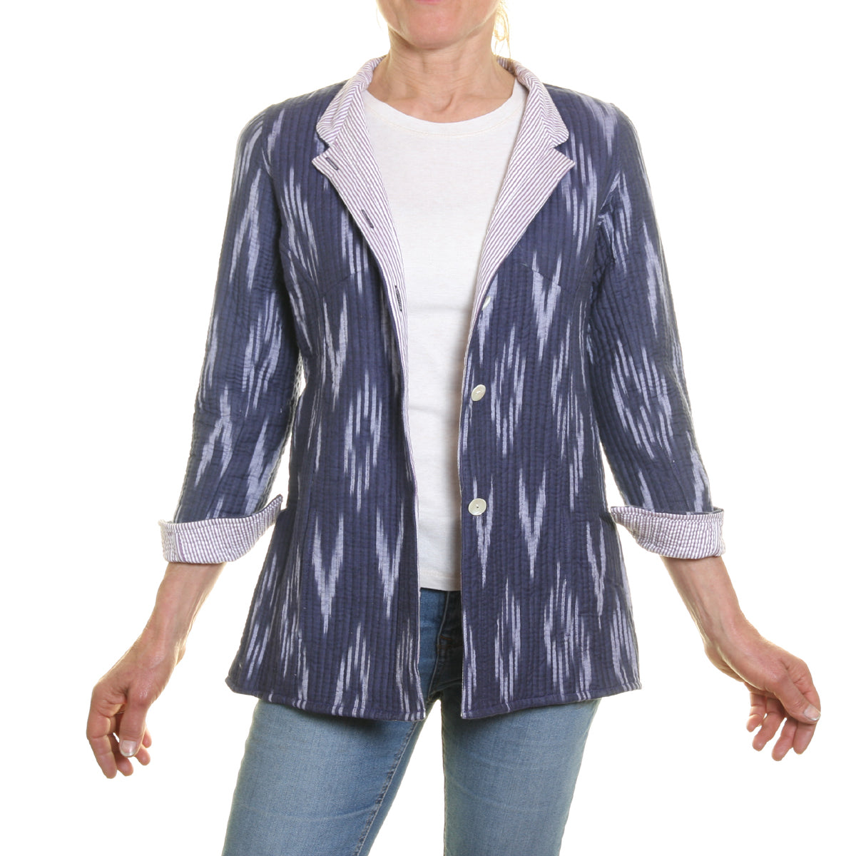 Cotton Quilted Opera Jacket - Blue and Pale Blue with Striped Lining