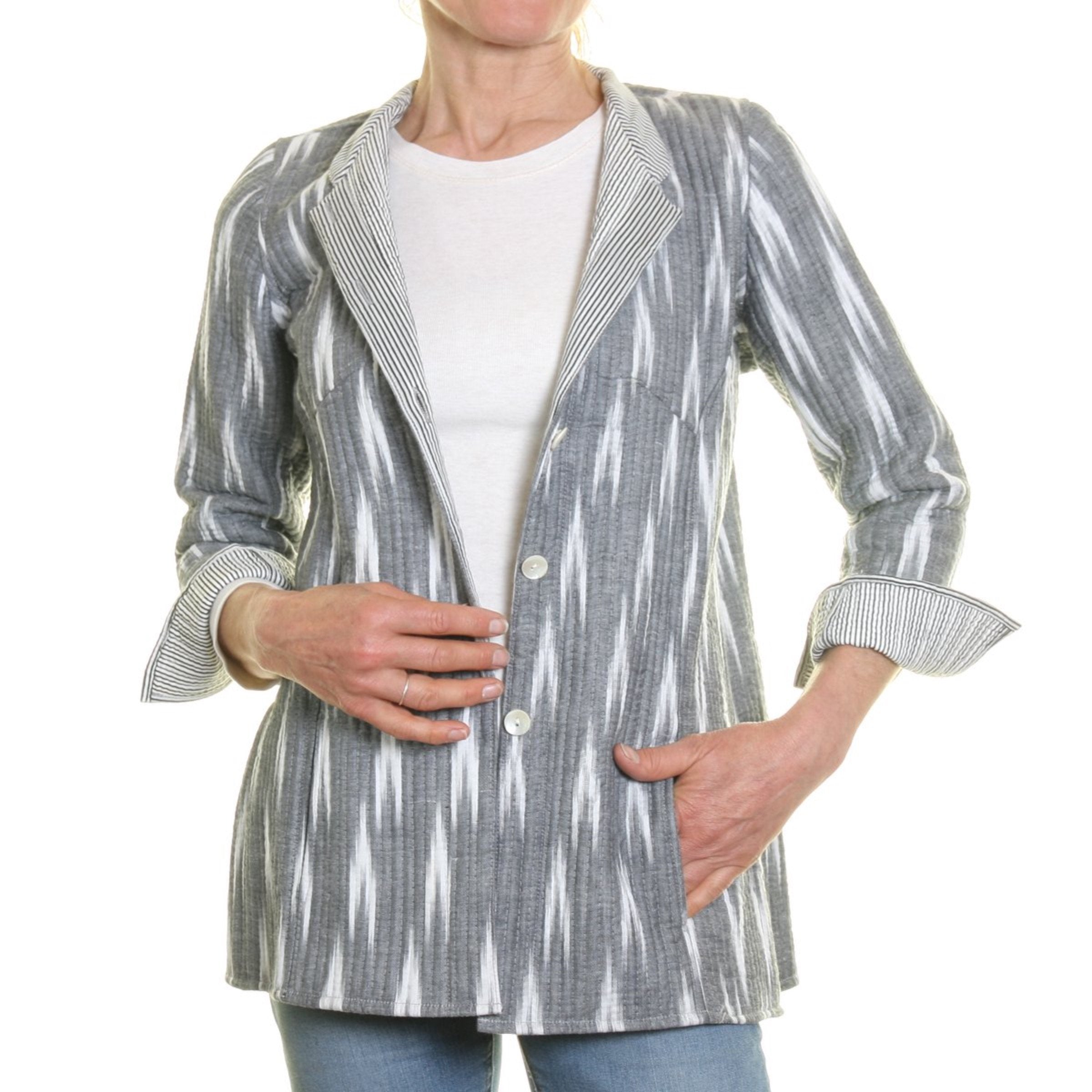 Cotton Quilted Opera Jacket - Grey and White with Striped Lining