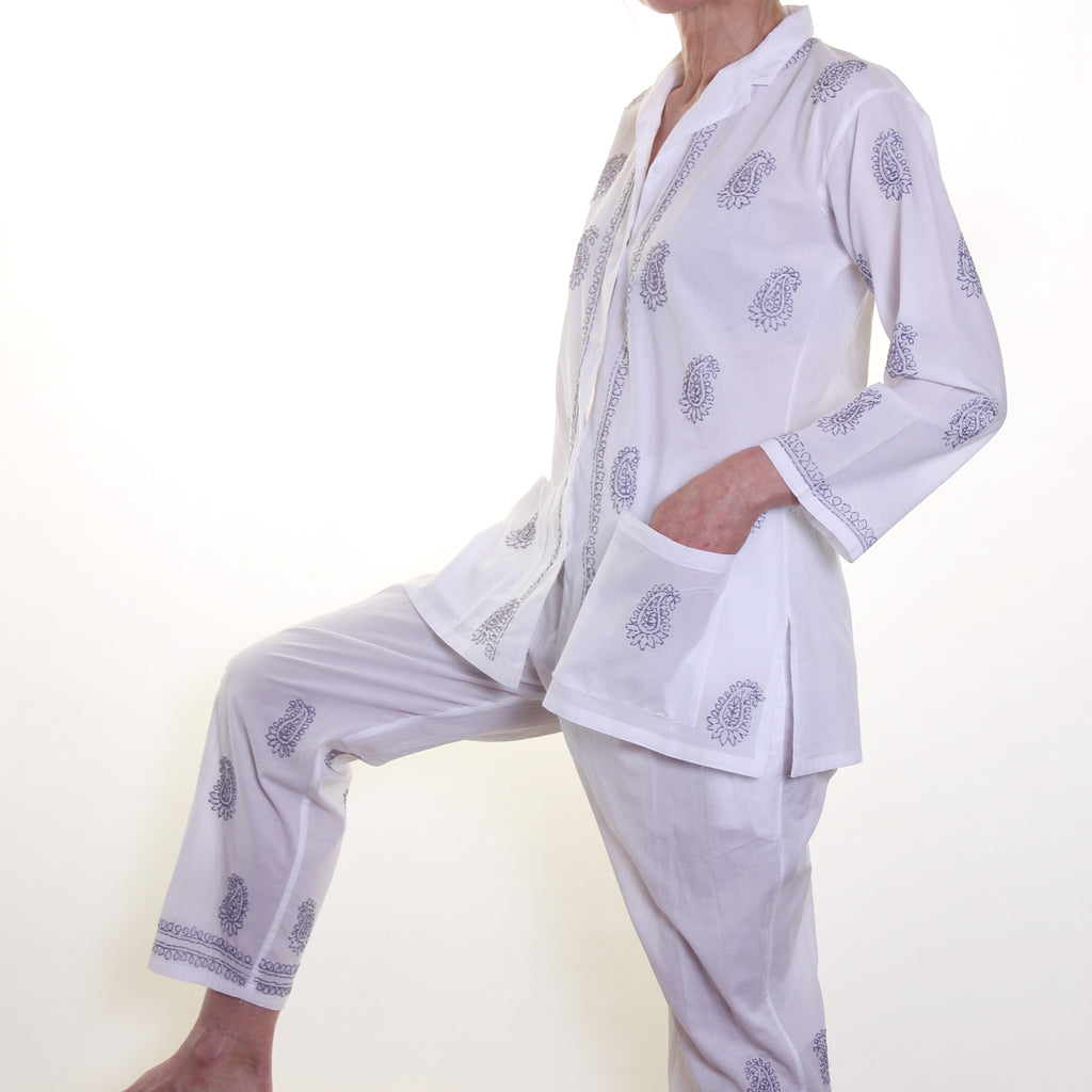 Cotton Pyjamas - Grey Embroidery