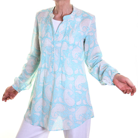 Flora Printed Cotton Top - Turquoise