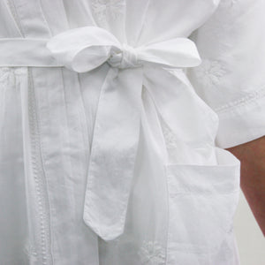 Dressing Gown - White Embroidery
